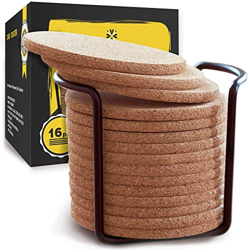 "Natural Cork Coasters With Round Edge 4 inches 16pc Set with Metal Holder Storage Caddy – 1/4"" Thick Plain Absorbent Heat-Resistant Reusable Saucers for Cold Drinks Wine Glasses Plants Cups \& Mugs"