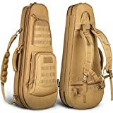 HUNTSEN Tactical Rifle Bag Backpack 32' Padded Gun Bag Soft Gun Case with Lockable Zippers for Hunting Shooting and Training Khaki