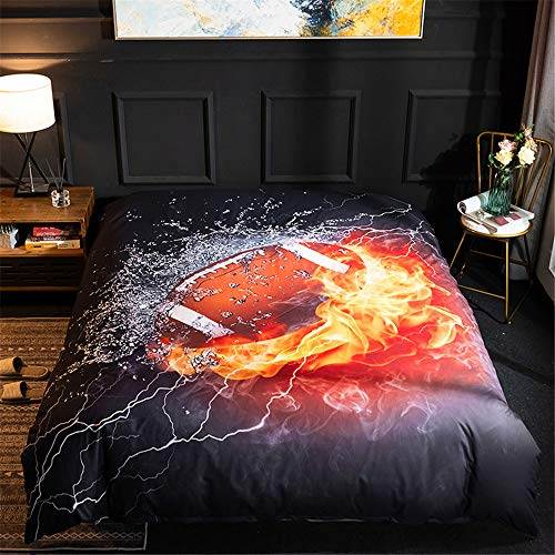Duvet Cover Set 3D Rugby Printed Children Boy Quilt Hidden Zipper Polyester Microfibe Duvet Cover with Pillow Case Single Double King Size (Single)