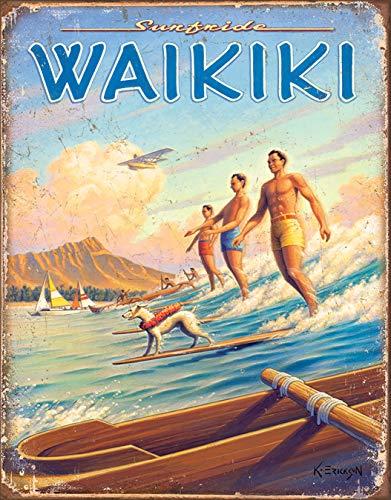 Desperate Enterprises Erickson - Hawaii - Surfside Waikiki Tin Sign, 12.5 W x 16 H