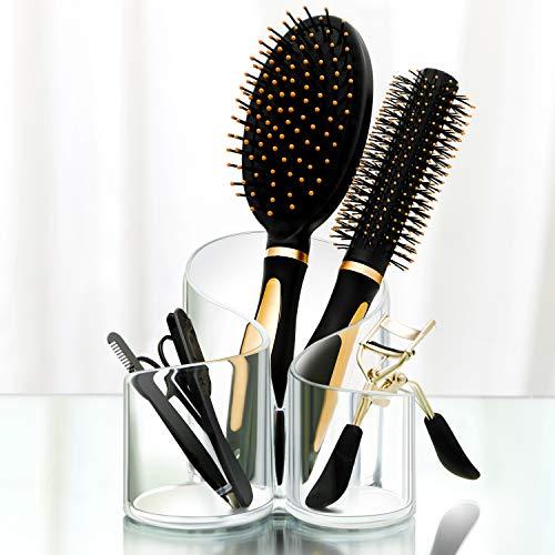 CAXXA Acrylic Makeup Brush Holder, 3 Compartment Desk Organizer Desktop Clear Cosmetics Organizer Lipstick Organizer (Clear)