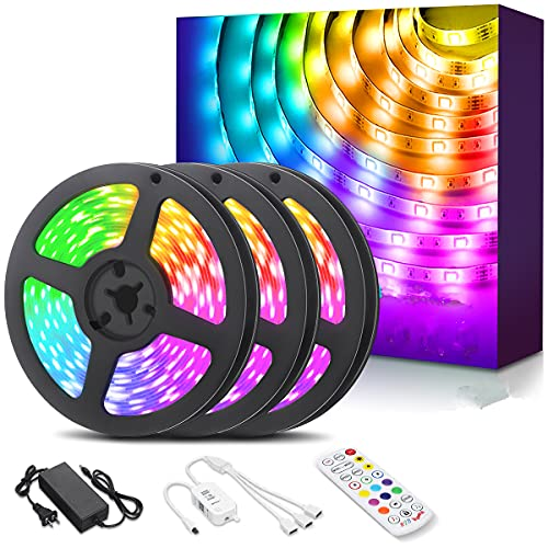 AMBOTHER LED Strip Lights 39.4ft RGB LED Light Strips App IR Remote Controller Color Changing Music Sync Dimmable 5050 Flexible Wireless Tape Rope Lights for Bedroom Room Home Kitchen