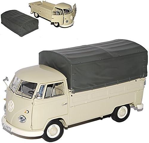 Schuco Volkwagen T1 Creme Beige Pritsche mit Abnehmbarer Plane 1950-1967 1 18 Modell Auto