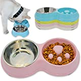 Hifrenchies Dog Slow Eating & Drinking Bowl,Stainless Steel Interactive Slow Feed Dog Bowl for French Bulldog,Slow Down Eating Eco-Friendly pet Bowl for Frenchie (Pink)