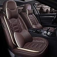 カーシートカバーフルレザー、通気性防水カーインテリア、シートカバー、エアバッグ対応、ほとんどの車に適合,ブラウン,Luxury
