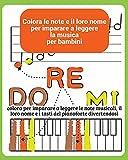 Colora le note e il loro nome per imparare a leggere la musica per bambini: colora per imparare a leggere le note musicali, il loro nome e i tasti del pianoforte divertendosi
