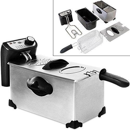 Deuba Freidora de Aceite eléctrica 2200W 4L de Acero Inoxidable para Patatas Fritas Zonas frías Temperatura 130-190°C