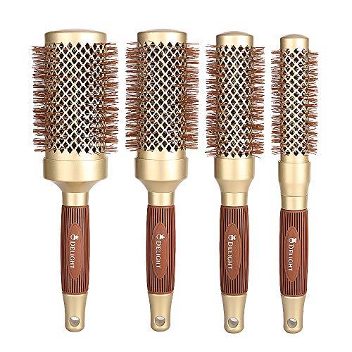 Cepillo Pelo Redondo para Secador,Juego de 4 cepillos redondos para pelo profesional...