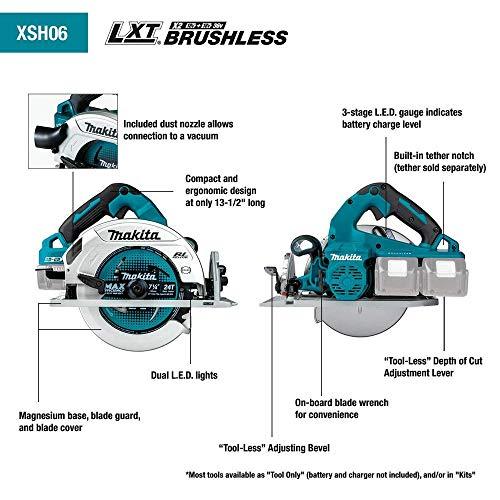 "Makita XSH06PT 18V X2 LXT Lithium-Ion (36V) Brushless Cordless 7-1/4"" Circular Saw Kit (5.0Ah)"