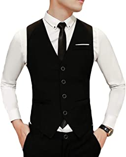 MU2M Men Hipster Slim Fit Solid Color V-Neck 4 Button Suit Vest Waistcoat
