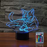 Christmas Gift Pet Cat 3D Illusion Birthday Present Beside Table Lamp, Gawell 16 Colors Changing Touch Switch Decoration Night Lamp with Remote Control Cat Lover Theme Toy
