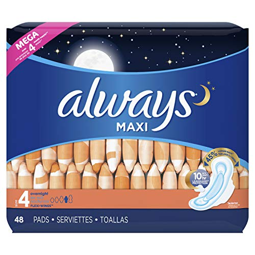 Always Maxi Size 4 Overnight Pads with Flexi-Wings Flexible Wings, Unscented, 48 Count