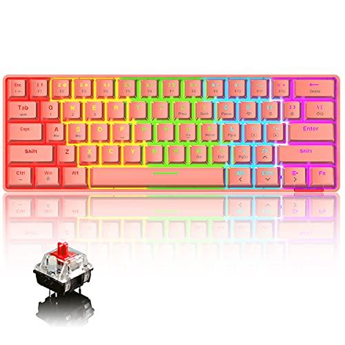 60% Teclado mecánico Cableado/Inalámbrico Teclado Bluetooth 5.0 61 teclas RGB Rainbow LED Retroiluminado USB Tipo-C Teclado para juegos a prueba de agua Teclas anti-fantasma (Interruptor rojo/rojo)