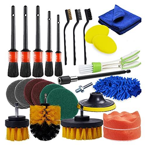 PETER LI Cepillos de limpieza de automóviles Poder Scrubber Brush Brush Detalle Conjunto de pincel Adelante para caracoles de aire de cuero Aire Limpieza Limpieza de suciedad Limpie las herramientas d