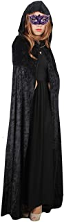 Orfila Women Full Length Halloween Cloak Masquerade Velvet Hooded Cape Robe Drama Cosplay Costumes Witch Wizard Magician