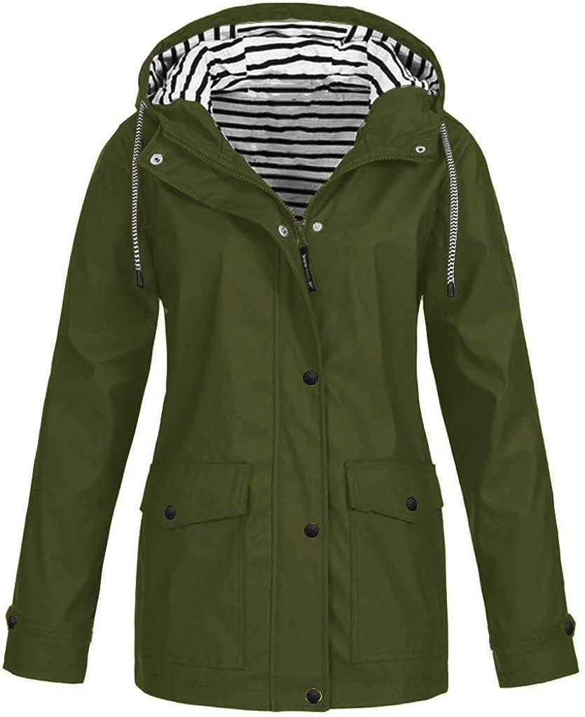 Women Solid Rain Outdoor Plus Size Waterproof Hooded Raincoat Windproof Windbreaker Jacket Pea Coat Trench