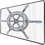 Mouse Pad Gaming Funcional Set náutico Alfombrilla de ratón gruesa impermeable para escritorio Ilustración de una rueda de barco de madera sobre fondo blanco Navegando en un tema de exploración del oc