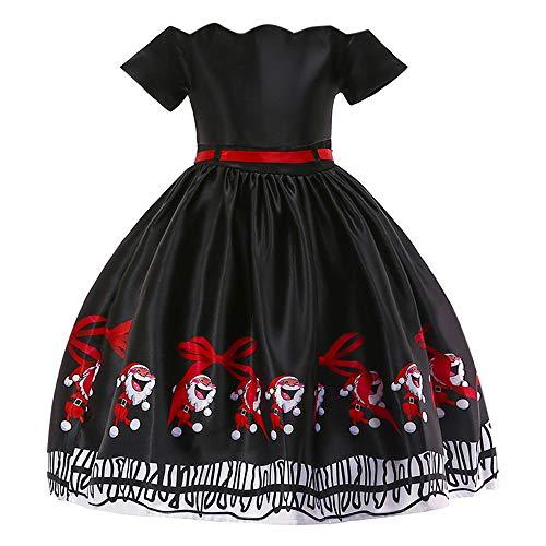 Riou Weihnachten Baby Kleidung Set Kinder Pullover Pyjama Outfits Set Familie Kleinkind Kinder Baby Mädchen Santa Print Prinzessin Kleid Partykleid Weihnachten (120, Schwarz)