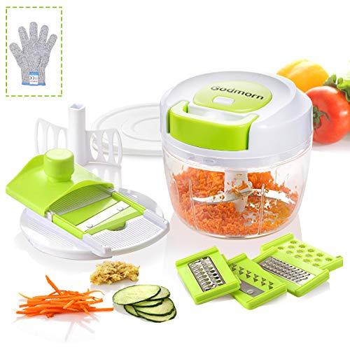 Zwiebelschneider Godmron Gemüseschneider 700 ml Multizerkleinerer Zwiebel Gemüse und Obst Zerkleinerer für Salat Fleisch Nüsse Soße