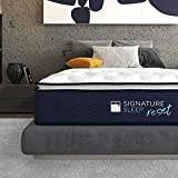 Signature Sleep Reset 12inches Activated Charcoal, Latex and Gel Memory Foam Pillow Top Hybrid Mattress, Queen Size