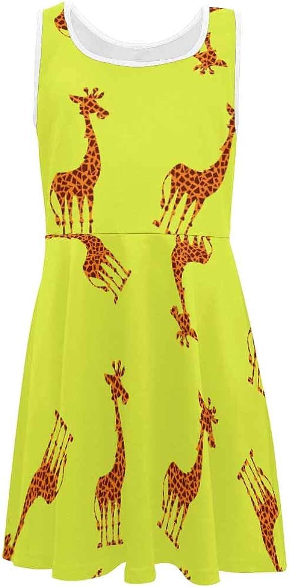 InterestPrint Girls Dress Summer Sleeveless Casual Party Twirl Dresses 4-13 Years Cute Giraffe M