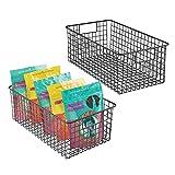 mDesign Juego de 2 cestas metálicas multiusos – Cestas de almacenaje...