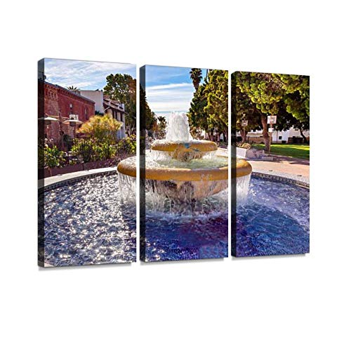 BELISIIS Mexican Tile Fountain Ventura California Wall Artwork Exclusive Photography Vintage Abstract Paintings Print on Canvas Home Decor Wall Art 3 Panels Framed Ready to Hang