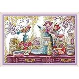 N/A Forniture per Matrimoni Fiore Pittura su Porcellana Kit Punto Croce aritmetico Fai da Te Stampato su Tela Kit Ricamo ago e Filo J491