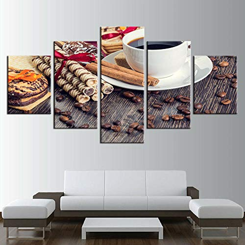 AWER Lona Murales Cuadro Moderno en Lienzo 5 Piezas Café de café frijoles galletas canela HD Arte De Pared Imágenes Modulares Sala De Estar Decoración para El Hogar 150X80Cm