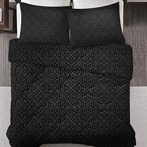 DECOVOGUE Medieval Folkloric Ornament Celtic Pattern Queen Size Bedding Set 3 Piece Decorative Vintage Style Floral Circles Bedding Quilt Sets- Soft, Lightweight Reversible Comforters