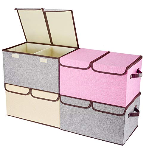 "Larger Storage Cubes [4-Pack] Senbowe Linen Fabric Foldable Collapsible Storage Cube Bin Organizer Basket with Lid, Handles, Removable Divider For Home, Nursery, Closet - (17.7 x 11.8 x 9.8"")"