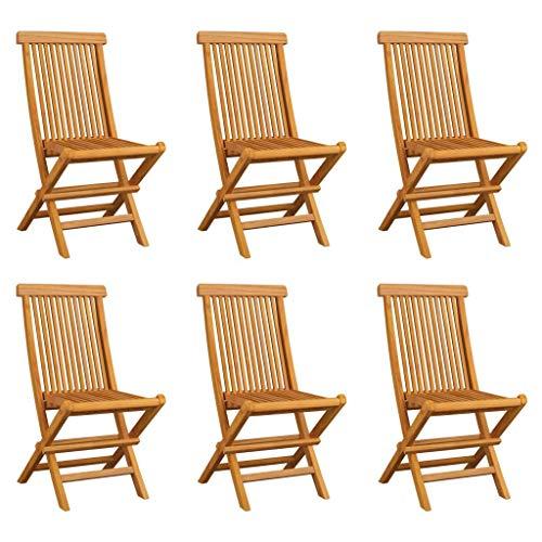 vidaXL 6X Teak Massiv Gartenstuhl Klappbar Gartenstühle Klappstuhl Klappstühle Stühle Stuhl Essstuhl Gartenmöbel Terrasse Balkon Garten