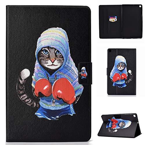 Hülle für PC Tablette Huawei MediaPad T3 10.0 Zoll - Tasche Leder Flip Hülle Tier Muster Design Etui Schutzhülle Cover, Boxkatze