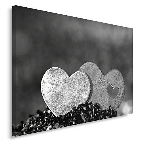 Feeby Frames, Cuadro en lienzo, Cuadro impresión, Cuadro decoración, Canvas 60x80 cm, DOS CORAZONES, BLANCO Y NEGRO