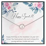 Sweet Sixteen Gifts for Sweet 16 Birthday Gifts for Teenage Girl Sixteen Birthday Necklace 16th Birthday Gifts for 16 Year Old Girl Swarovski Pearl Necklace