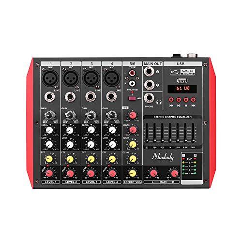 Muslady Mezclador de Consola Mezcladora 7 Bandas Ecualizador Potencia Fantasma Incorporada de 48 V Soporta Conexión BT USB Reproductor MP3 para la Grabación de Música DJ Network Live Broadcast Karaoke