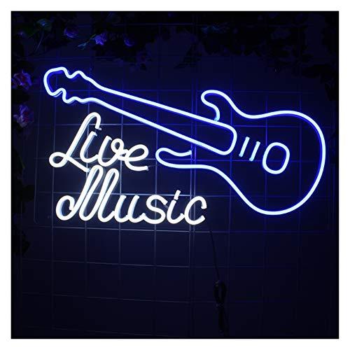 WMLWML Música en Vivo Moderna Guitarra de la Guitarra Neon Luces Signo Personalizado Custom Flex LED Acrílico Colgando Dream Studio Oficina Detalle Decoración (Size : UK Standard)
