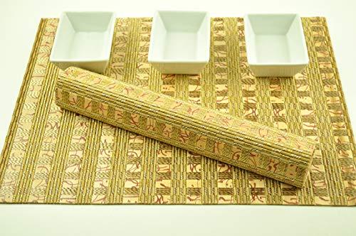 CP011 Lot de 4 sets de table rectangulaires en bambou de qualité supérieure respectueux de l'environnement Rose/marron clair