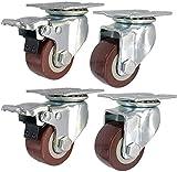 Ruedas Ruedas Rueda giratoria Caster Bueno 4 Servicio pesado Industrial 1.5 '' / 50mm / 3 pulgadas / 100mm / 5 '' con placa de freno ruedas de ruedas giratorio universal silencioso 400kg-1000kg para m