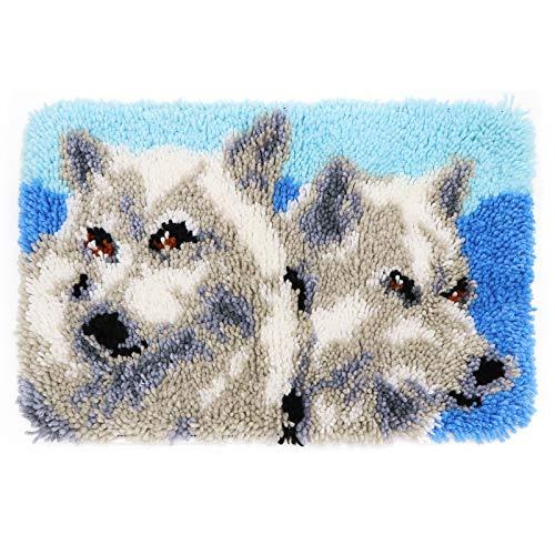 eden crochet hooks MLADEN DIY Crochet Yarn Kits,Needlework Latch Hook Kit Unfinished Crocheting Rug Yarn Cushion Embroidery Carpet Set (Wolf,19.5