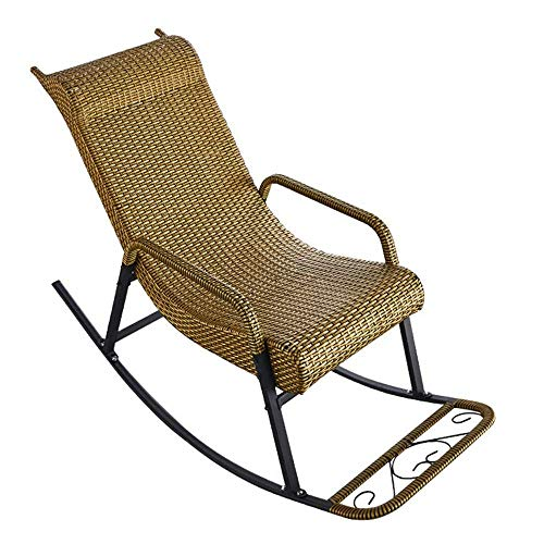 Rocking Chair With Armrests And Backrest PE Rattan Waterproof Relaxing Recliner Chair For Living Room, Patio And Terrace