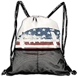 AZXGGV Drawstring Backpack Rucksack Shoulder Bags Gym Bag Sport Bag,Grunge American Flag Themed Stitched Rugby Ball Vintage Design Football Theme