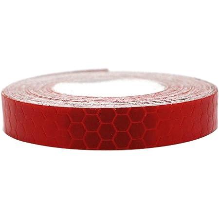 Maiqiken 1 Rolle Reflektor Streifen Rot Selbstklebende Für Auto Lkw Anhänger Sicherheit Warnung Reflektorband Tape Aufkleber 1cm X 5m Auto