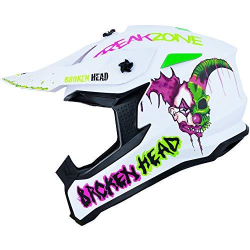 Broken Head FreakZone Cross-Helm Weiß-Grün-Pink matt – Motocross – MX – Quad – Supermoto (M 57-58 cm)
