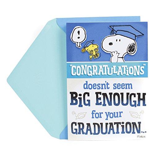 Hallmark Peanuts Pop Up Graduation Card (Snoopy and Woodstock, Big Congratulations)