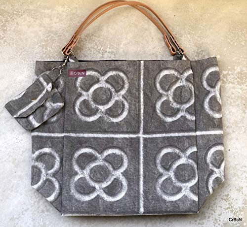 Tote bag with detachable leather straps/Tote bag con asas de cuero desmontables