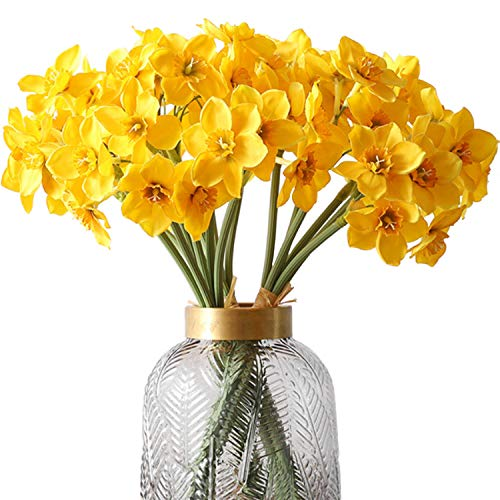 FagusHome 18 Piezas Narcisos Flores Artificiales 3 Paquetes de Flores Falsas Plantas Artificiales para Decoración (Amarillo)