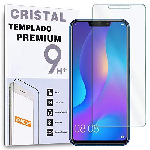 REY - Protector de Pantalla para Huawei P Smart Plus - Huawei Nova 3i, Cristal Vidrio Templado Premium