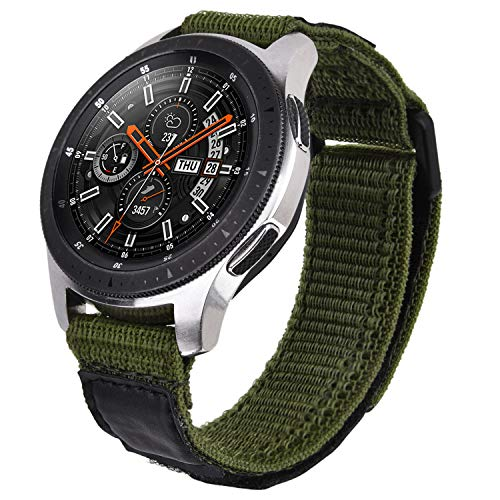 V-MORO Kompatibel mit Galaxy Watch 46mm Armband/Gear S3 Frontier Armband Herren 22mm Weiche Atmungsaktive Gewebeschlaufe Ersatz für Samsung Galaxy Watch 46mm/Gear S3 Smartwatch(Army Green)