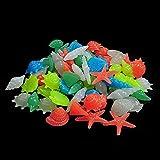 200 piezas coloridas piedras ligeras piedras brillantes guijarros de luz fluorescente piedras de grava brilla en las rocas oscuras para las rocas del tanque de pescado Decoración de acuario Plantas de